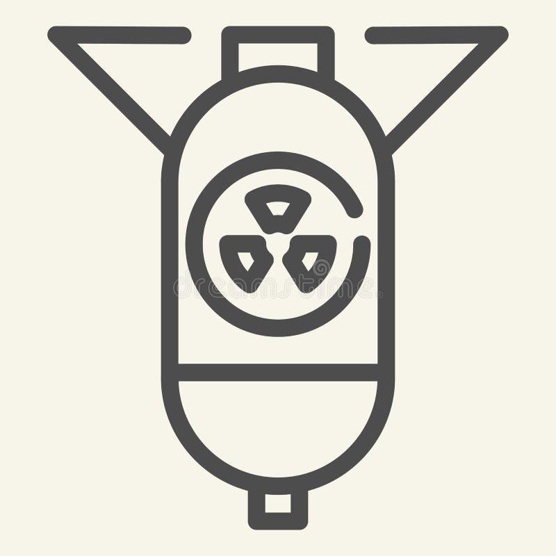 Linie Ikone des atomaren Gefechtskopfes Atombomben-Vektorillustration lokalisiert auf Weiß Kriegsführungsentwurfs-Artentwurf, ent stock abbildung
