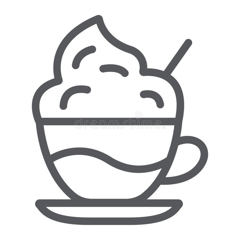 Linie Ikone des Kaffees mit Sahne, Kaffee und Schale, Kaffee mit Schaumzeichen, Vektorgrafik, ein lineares Muster auf einem weiße stock abbildung