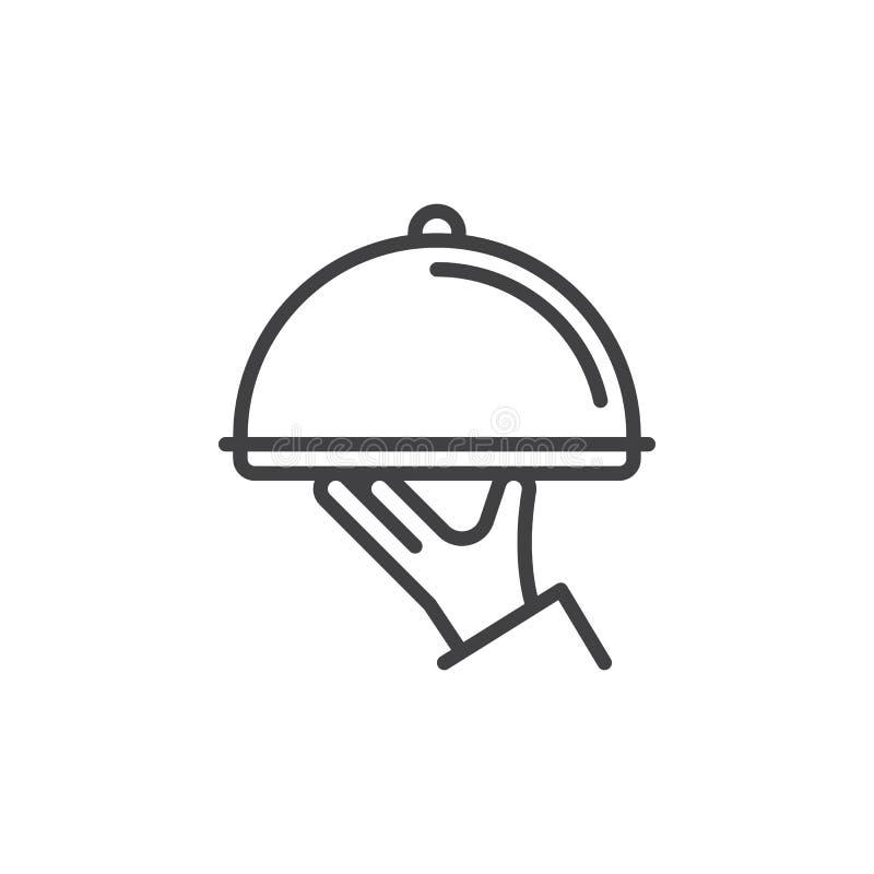 Linie Ikone, Entwurfsvektorzeichen, lineares Artpiktogramm der Restaurantglasglocke in der Hand lokalisiert auf Weiß vektor abbildung