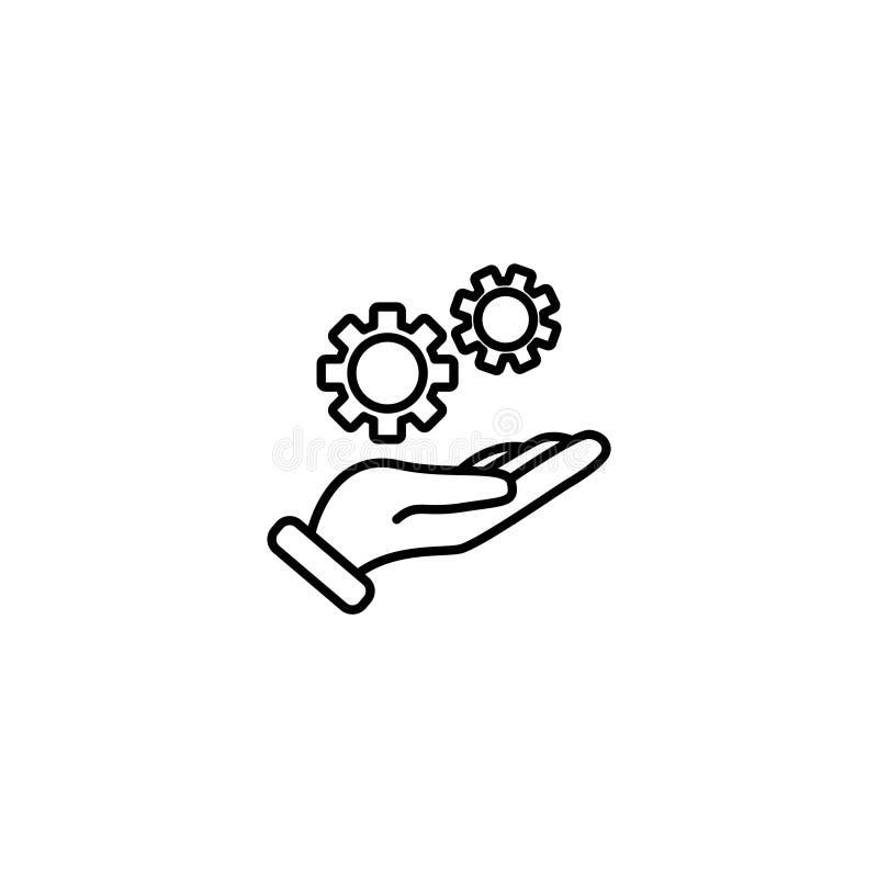 Linie Ikone Gangmechanismus in der Hand vektor abbildung