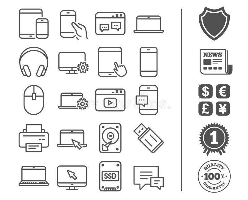 Linie Ikonen der tragbaren Geräte Laptop, SSD und HDD stock abbildung