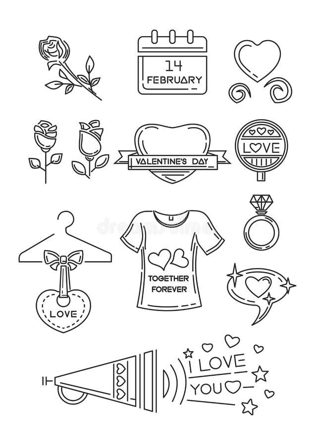 Linie Ikonen eingestellt für Valentinsgruß-Tag lizenzfreie abbildung