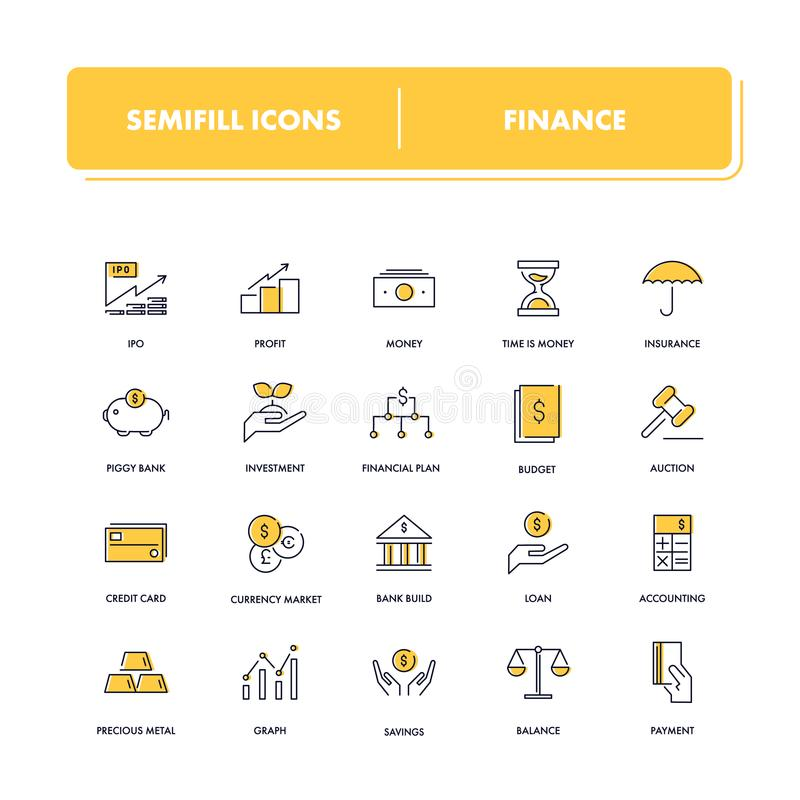 Linie Ikonen eingestellt finanzierung lizenzfreie abbildung