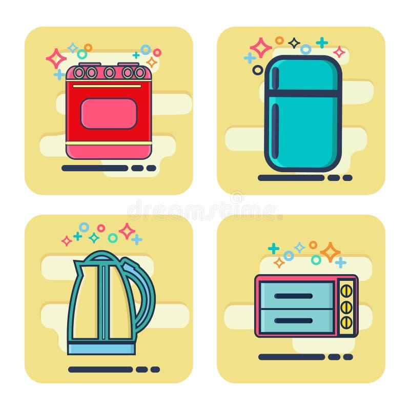 Linie Ikonen eingestellt mit flachen Gestaltungselemente Küchengeräten stock abbildung