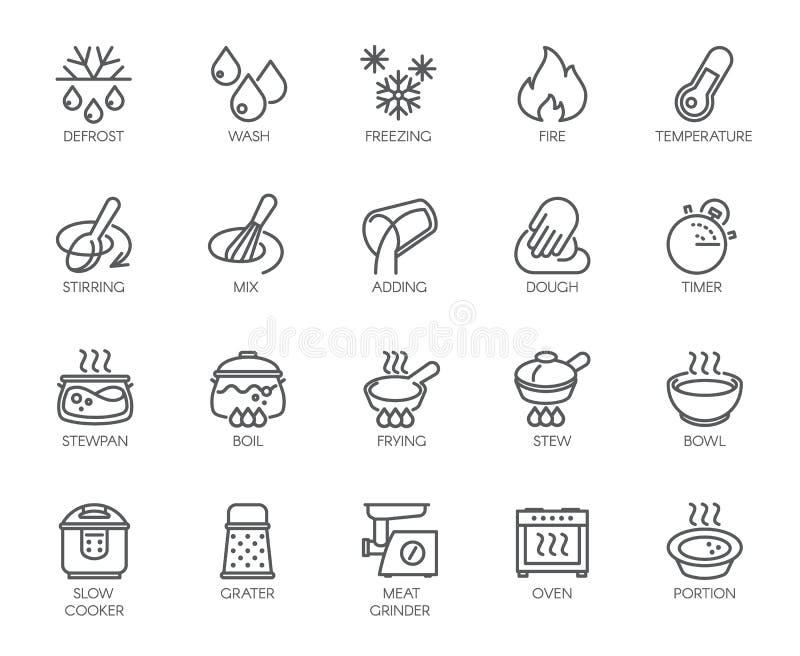 20 Linie Ikonen für das Kochen des Themas Vektorsatz Entwurfssymbole lokalisiert auf weißem Hintergrund Küchenzubehöraufkleber lizenzfreie abbildung