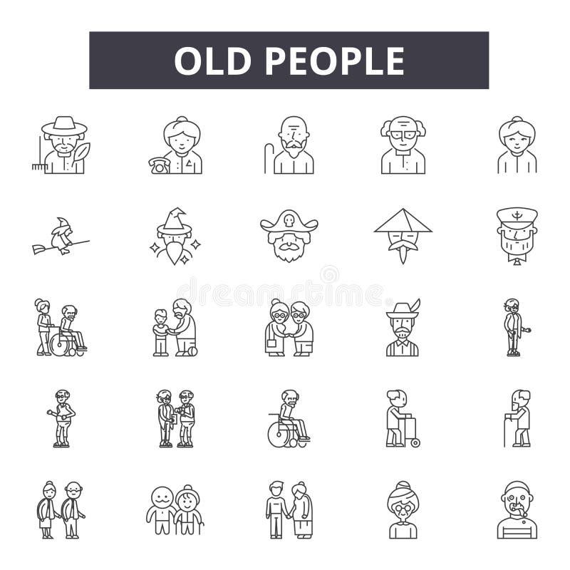 Linie Ikonen, Zeichen, Vektorsatz, Entwurfsillustrationskonzept der alten Leute stock abbildung