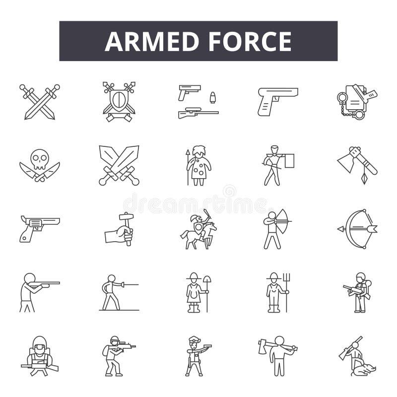 Linie Ikonen, Zeichen, Vektorsatz, lineares Konzept, Entwurfsillustration der bewaffneten Kraft vektor abbildung