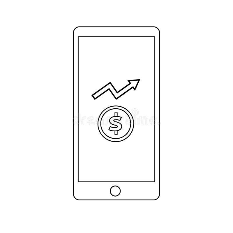 Linie IkonenGeldmengenwachstum auf mobilem Schirm lizenzfreie abbildung