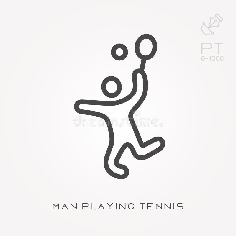 Linie Ikonenmann, der Tennis spielt stock abbildung