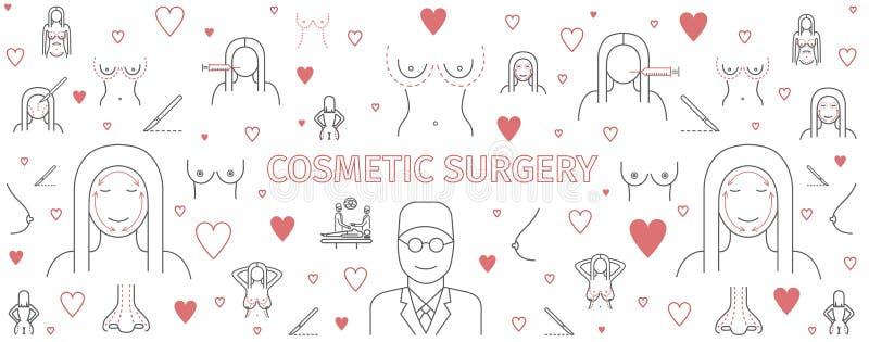 Linie infographics plastische Chirurgie, Schönheitschirurgiefahne Brustvermehrungszeichen lizenzfreie abbildung