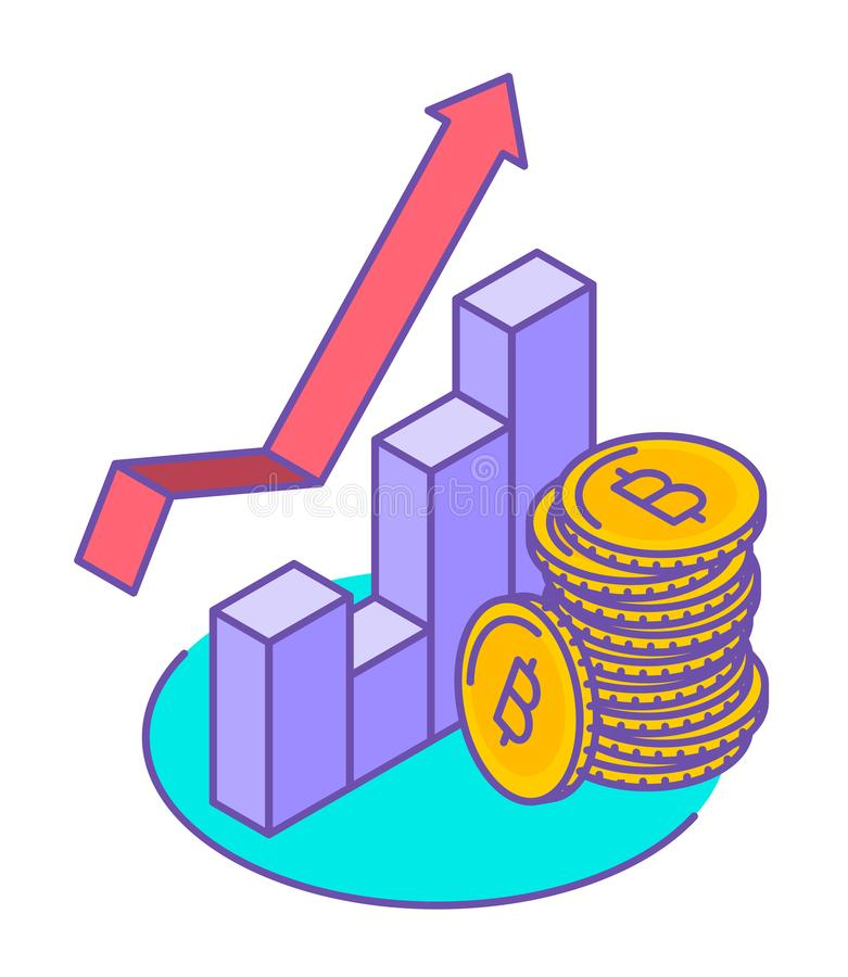 Linie isometrische Illustration vom Stapel von bitcoins am Wachstumsdiagramm vektor abbildung