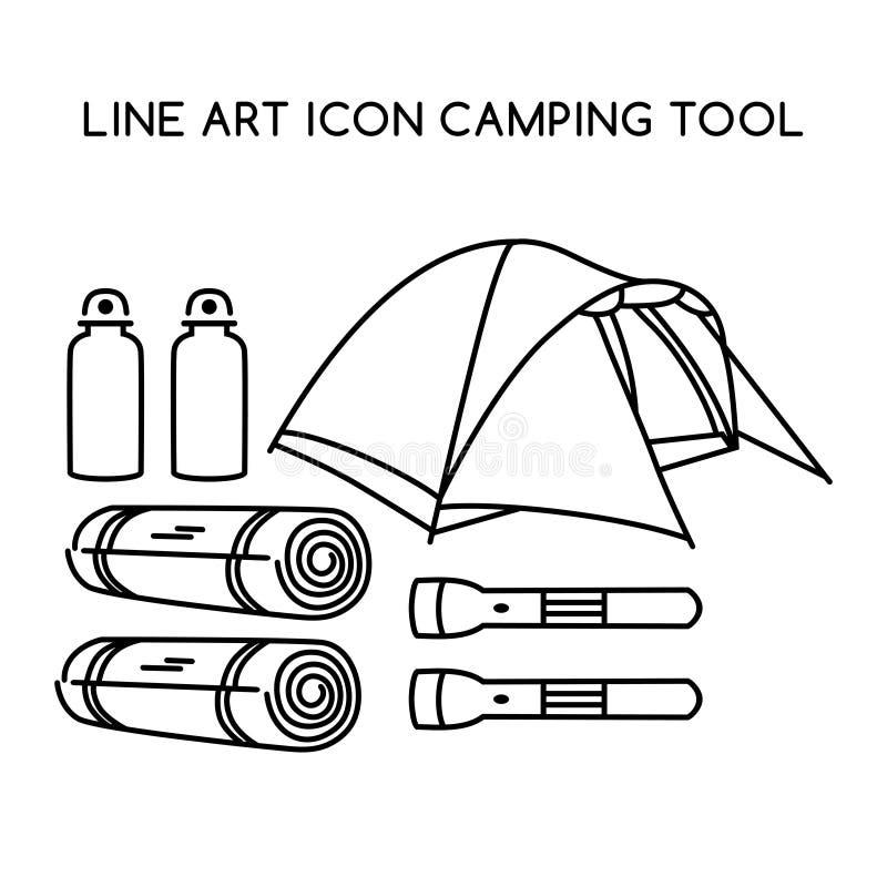 Linie kampierendes Werkzeug der Kunstikone lizenzfreie abbildung