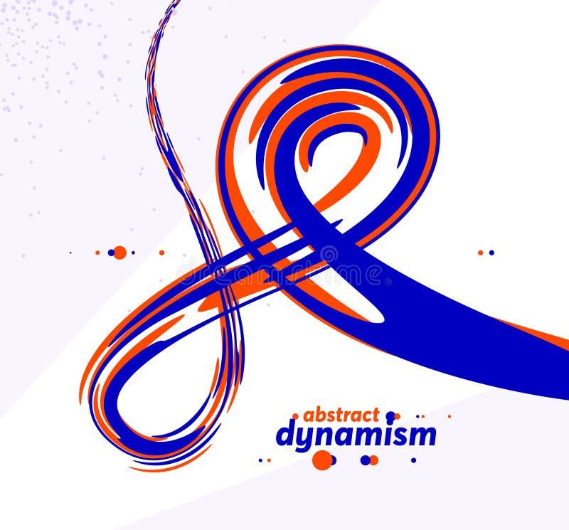 Linie krzywej abstrakcyjnej i ksztaÅ'ty pÅ'ynne w tle wektorowym, dynamiczny przepÅ'yw energii, ksztaÅ'ty fal zakrzywionych pÅ'ynÄ royalty ilustracja