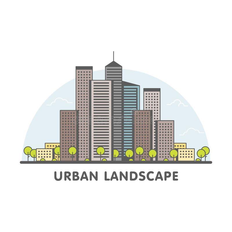 Linie Kunst des modernen Großstadt-Hintergrundes mit Wolkenkratzern und Bäumen Modische lineare Art Vektor-Illustration lizenzfreie abbildung