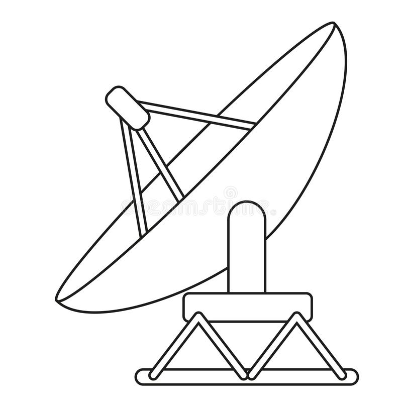 Linie Kunst Schwarzweiss-- Satelliten-antena lizenzfreie abbildung