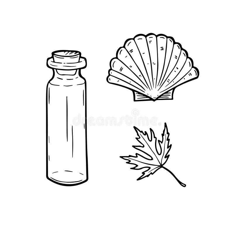 Linie Kunst stellte mit Flasche, Muschel und Blatt ein Auch im corel abgehobenen Betrag stock abbildung
