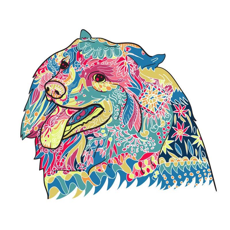 Linie Kunst und Farbton von nettem spritz Hund auf Weiß vektor abbildung