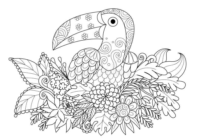 Linie Kunstdesign des Tukanvogels sitzend auf Niederlassung für erwachsene Malbuchseite Junger Mann läuft in Stadt lizenzfreie abbildung