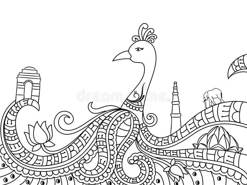 Linie Kunstdesign für Unabhängigkeitstagfeier stock abbildung