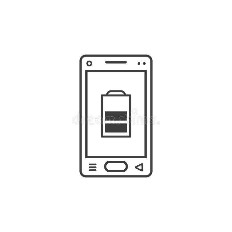 Linie Kunstikone von Smartphone mit durchschnittlichem Batterieniveau lizenzfreie abbildung
