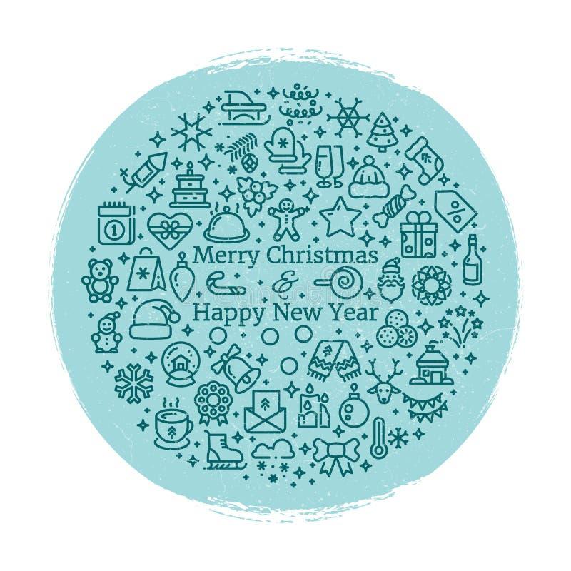 Linie Kunstikonen des Schmutz-neuen Jahres und des Weihnachten lizenzfreie abbildung