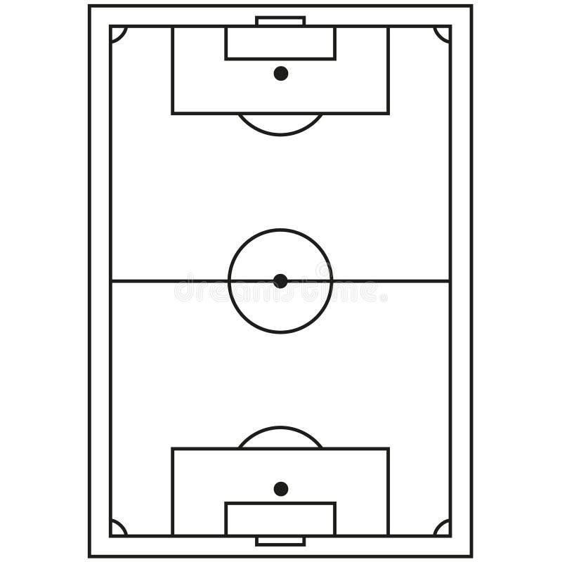 Linie Kunstschwarzweiss-Fußballplatzikone stock abbildung