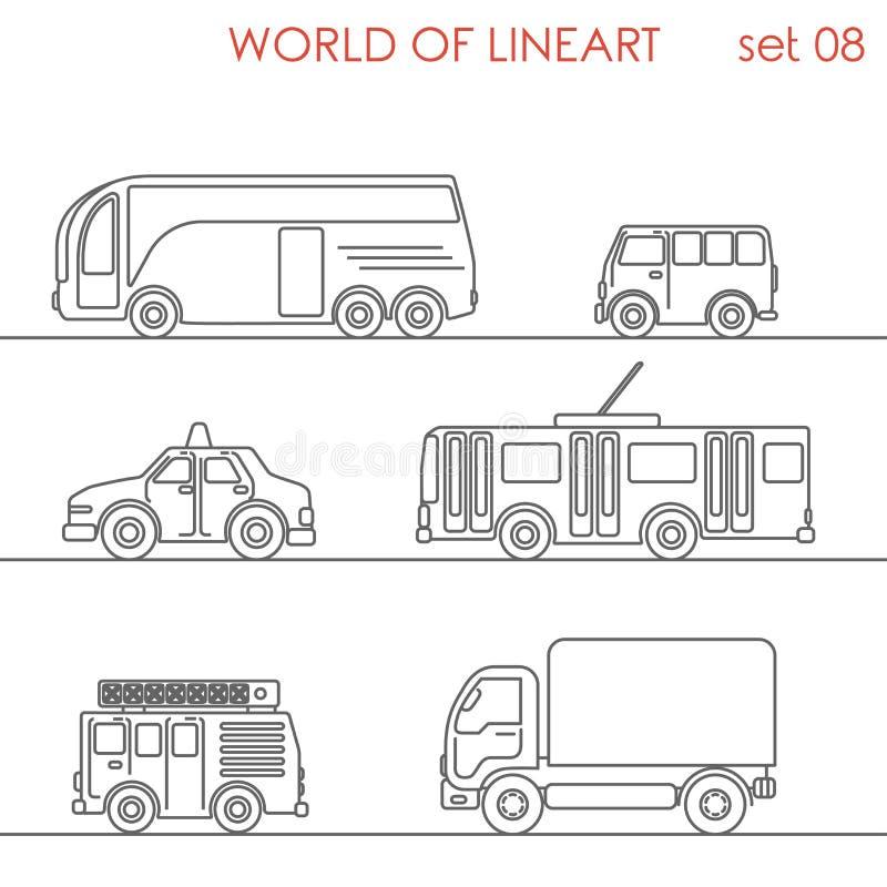 Linie Kunsttransportluftstraßen-Laufkatzenbus grafischer lineart Satz stock abbildung
