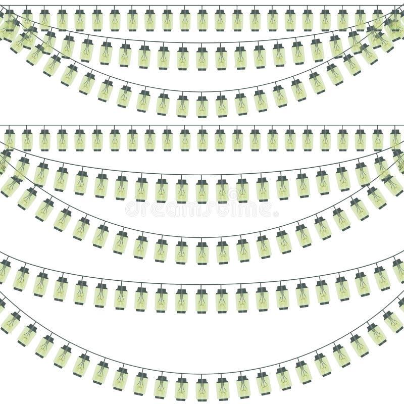 Linie lampasy dekoruje parka lampion girlandy płonącego żarówki Edison inskrypci kwadrata trójboka round gwiazda s ilustracji