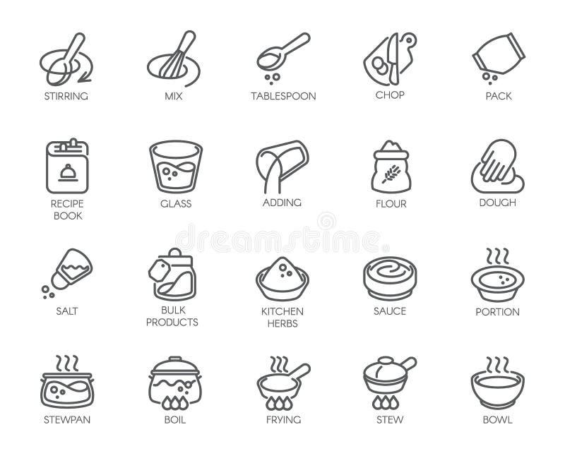 Linie lokalisierte Ikonen auf Küchenthema Entwurfsaufkleber für das Kochen von Projekten, von Haushaltsgeräten, von Produkten und stock abbildung