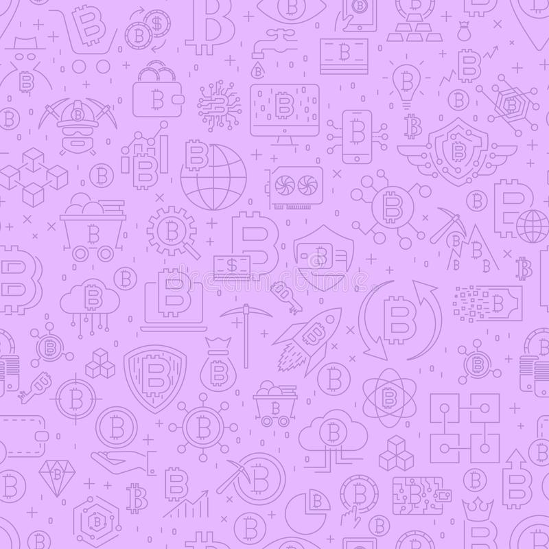 Linie nahtloses Muster Bitcoin Vektor-Illustration des Entwurfs-Fliesen-Hintergrundes Finanzeinzelteile Cryptocurrency lizenzfreie abbildung