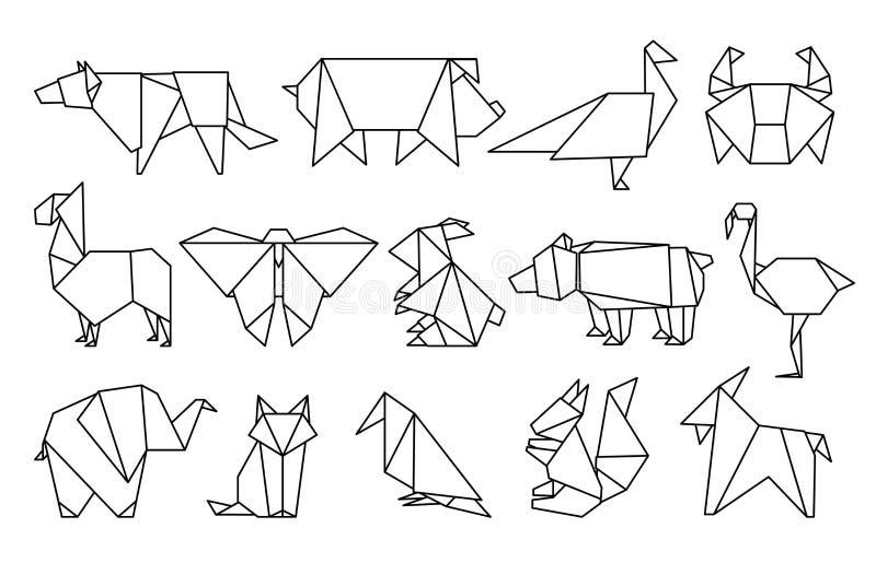 Linie Origamitiere Abstrakte Polygontiere, gefaltete Papierformen, moderne Japan-Entwurfsschablonen Vektortierikonen stock abbildung