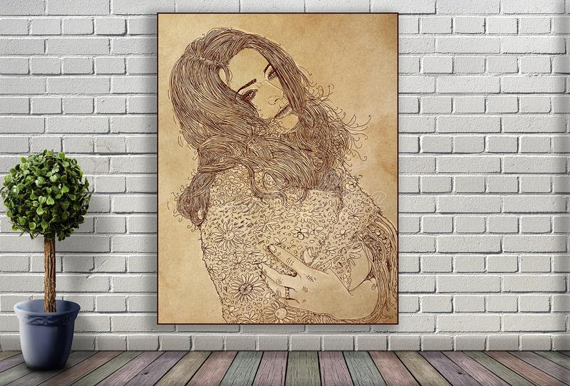 Linie Porträt der Frau hängend an der Backsteinmauer stock abbildung