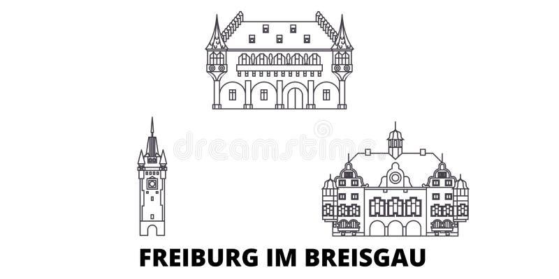 Linie Reiseskylinesatz Deutschlands, Freiburg im Breisgau Entwurfsstadt-Vektorillustration Deutschlands, Freiburg im Breisgau lizenzfreie abbildung