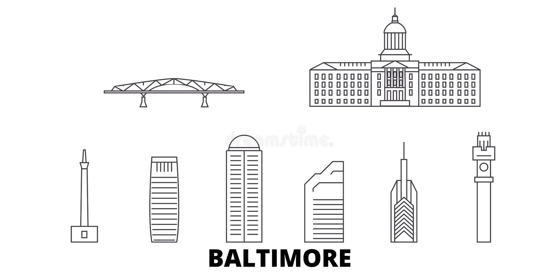 Linie Reiseskylinesatz Vereinigter Staaten, Baltimore Entwurfsstadt-Vektorillustration Vereinigter Staaten, Baltimore, Symbol vektor abbildung