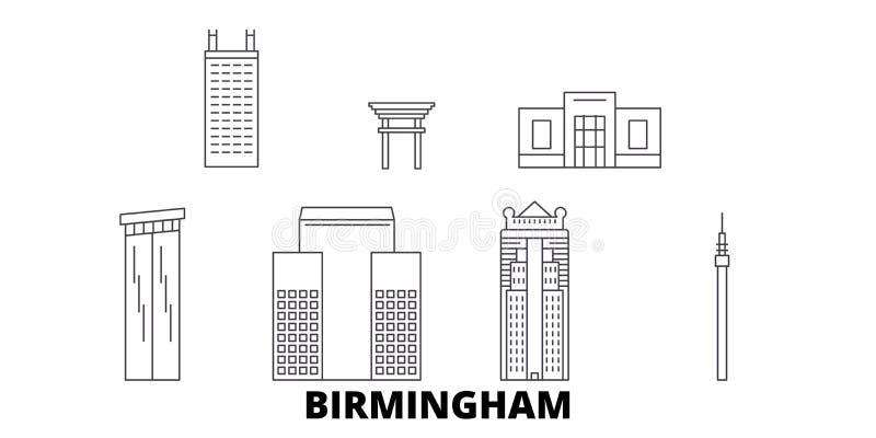 Linie Reiseskylinesatz Vereinigter Staaten, Birmingham Entwurfsstadt-Vektorillustration Vereinigter Staaten, Birmingham, Symbol vektor abbildung