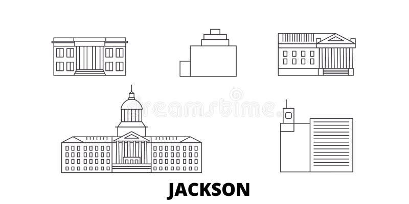 Linie Reiseskylinesatz Vereinigter Staaten, Jackson Entwurfsstadt-Vektorillustration Vereinigter Staaten, Jackson, Symbol, Reise vektor abbildung