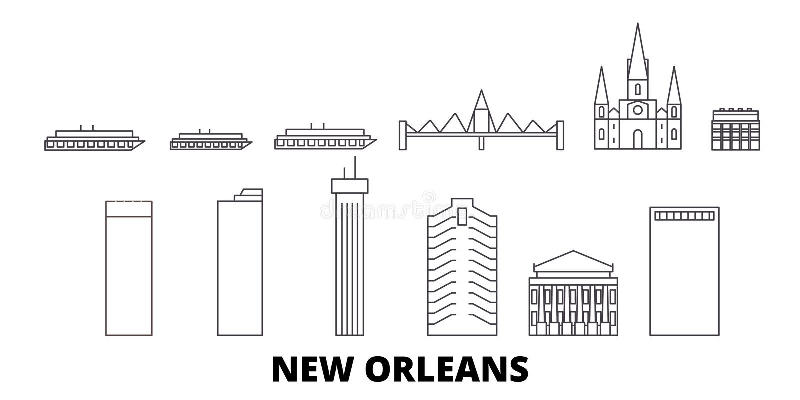 Linie Reiseskylinesatz Vereinigter Staaten, New Orleans Entwurfsstadt-Vektorillustration Vereinigter Staaten, New Orleans, Symbol lizenzfreie abbildung