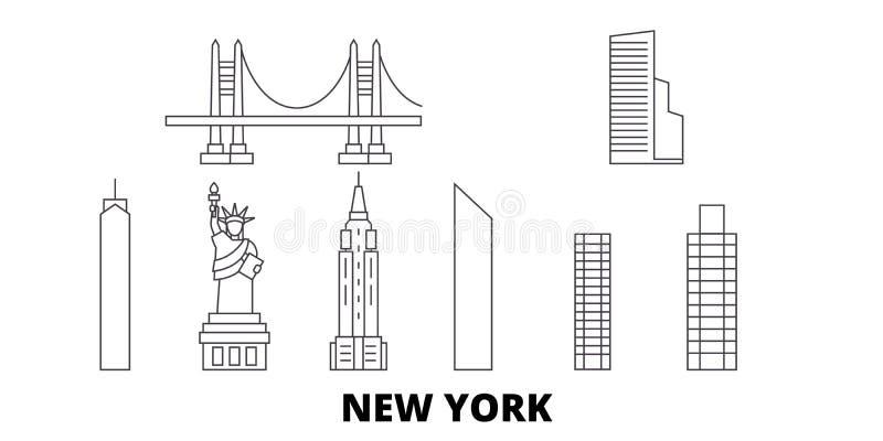 Linie Reiseskylinesatz Vereinigter Staaten, New York Entwurfsstadt-Vektorillustration Vereinigter Staaten, New York, Symbol lizenzfreie abbildung