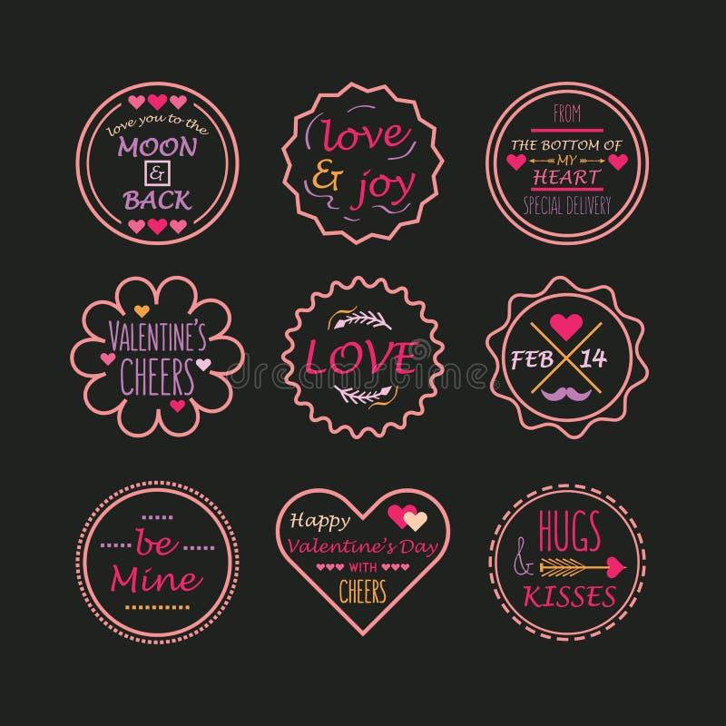 Linie rosa Valentinstag und Liebesembleme eingestellt vektor abbildung