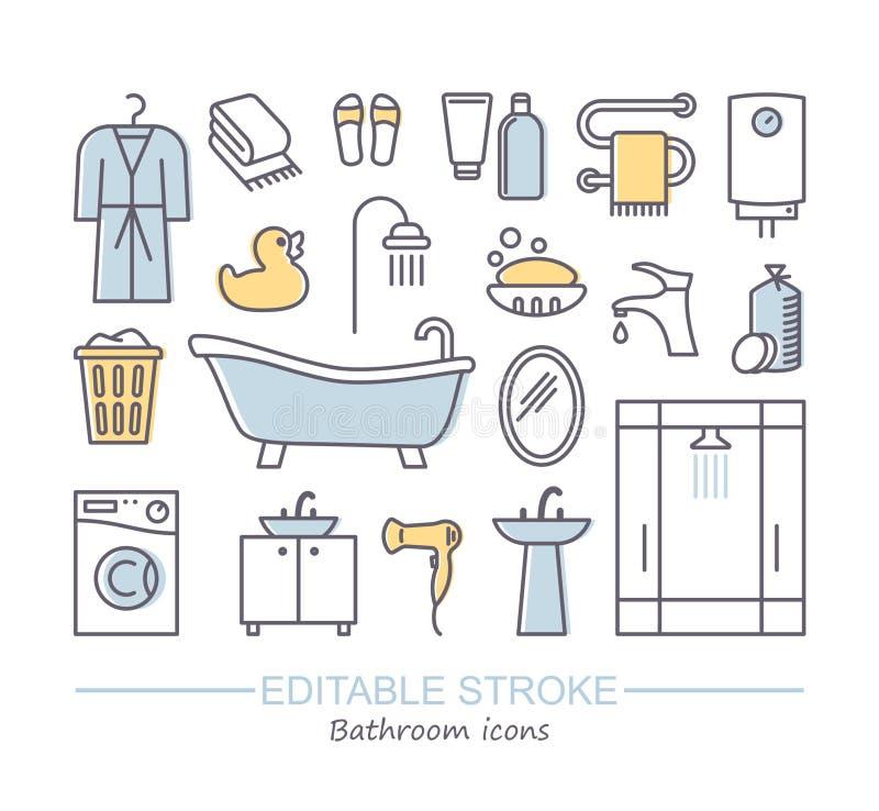 Linie Satz von Ikonen - Badezimmer Vektorillustration mit editable Anschlag stock abbildung