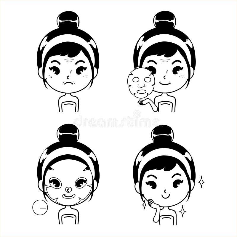 Linie Schwarzillustrations-Maskenbehandlung für Frauen vektor abbildung