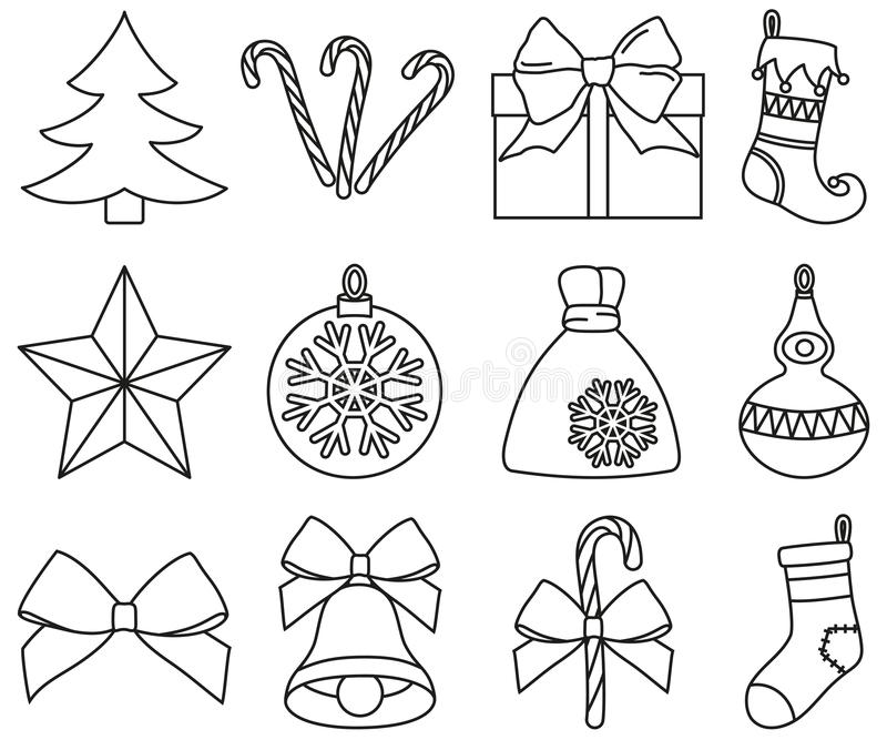 Linie Schwarzweiss--Satz mit 12 Elementen der Kunst Weihnachts stock abbildung