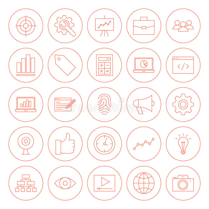 Linie SEO Circle Icons lizenzfreie abbildung