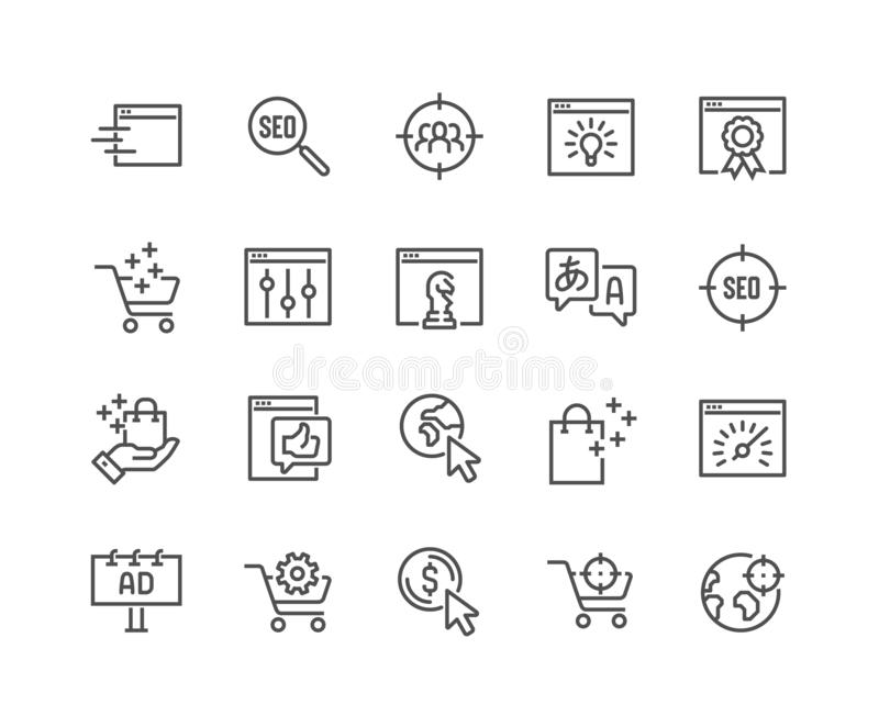 Linie SEO Icons vektor abbildung