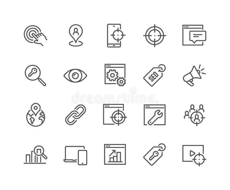 Linie SEO Icons lizenzfreie abbildung