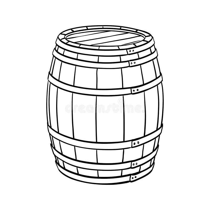 Linie Skizze des Fasses stock abbildung