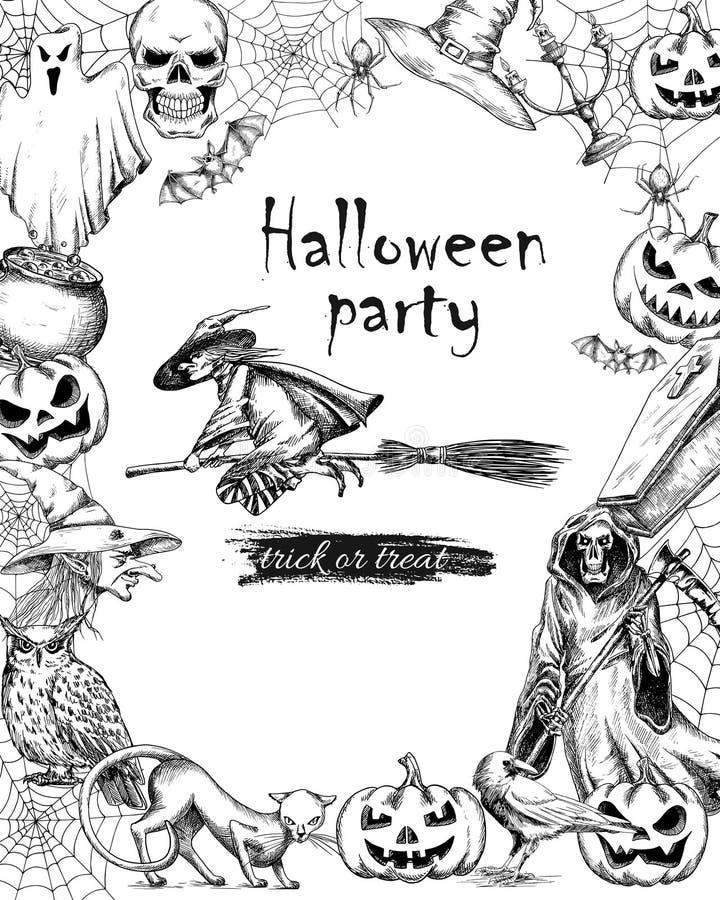 Linie Skizzenvektor-Weinleseplakat für Halloween lizenzfreie abbildung