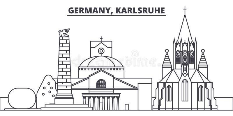 Linie Skylinevektorillustration Deutschlands, Karlsruhe Deutschland, lineares Stadtbild Karlsruhes mit berühmten Marksteinen, Sta vektor abbildung