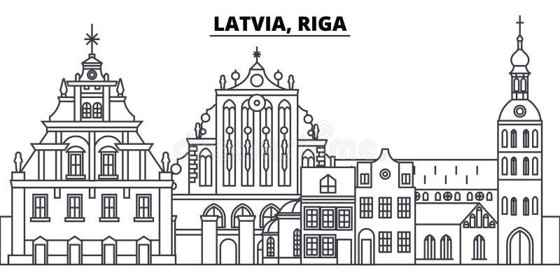 Linie Skylinevektorillustration Lettlands, Riga Lettland, lineares Stadtbild Rigas mit berühmten Marksteinen, Stadtanblick, Vekto lizenzfreie abbildung