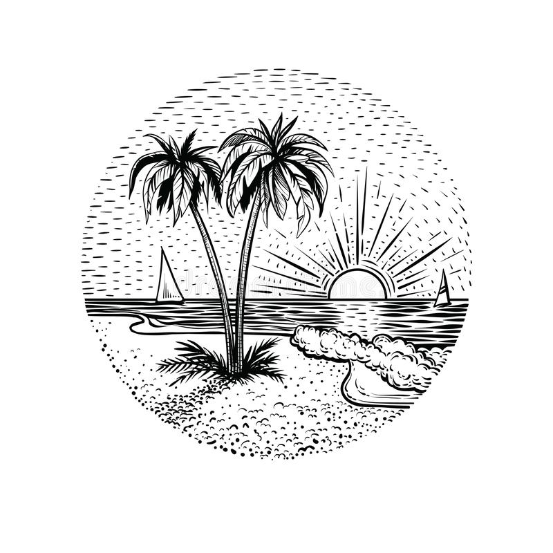 Linie Strandlandschaft mit Palmen und Sonnenuntergang Rundes Emblem, Karte, Tätowierung oder Gestaltungselement vektor abbildung